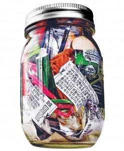 Mason jar trash